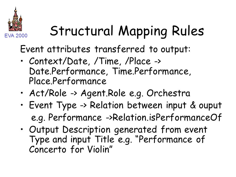 EVA 2000 Structural Mapping Rules Event attributes transferred to output: Context/Date, /Time, /Place -> Date.Performance, Time.Performance, Place.Performance Act/Role -> Agent.Role e.g.
