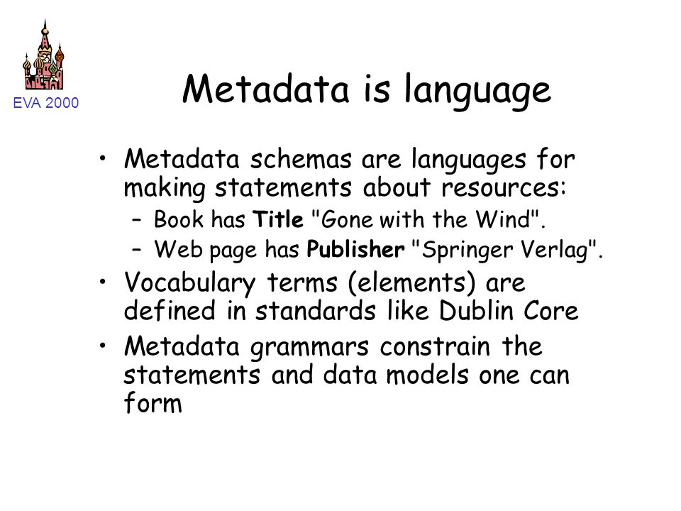 EVA 2000 Metadata is language Metadata schemas are languages for making statements about resources: –Book has Title