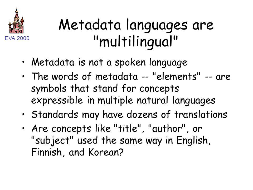 EVA 2000 Metadata languages are