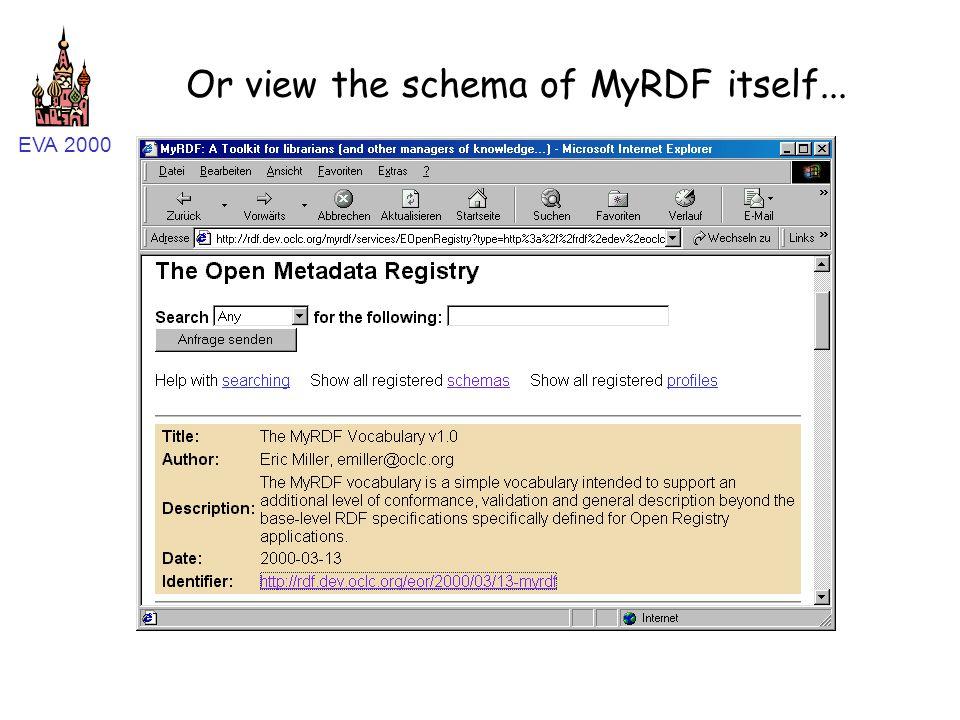 EVA 2000 Or view the schema of MyRDF itself...