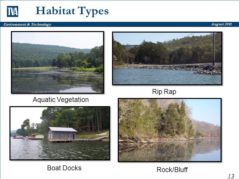 Environment & Technology August 2011 Habitat Types 13 Aquatic Vegetation Boat Docks Rock/Bluff Rip Rap