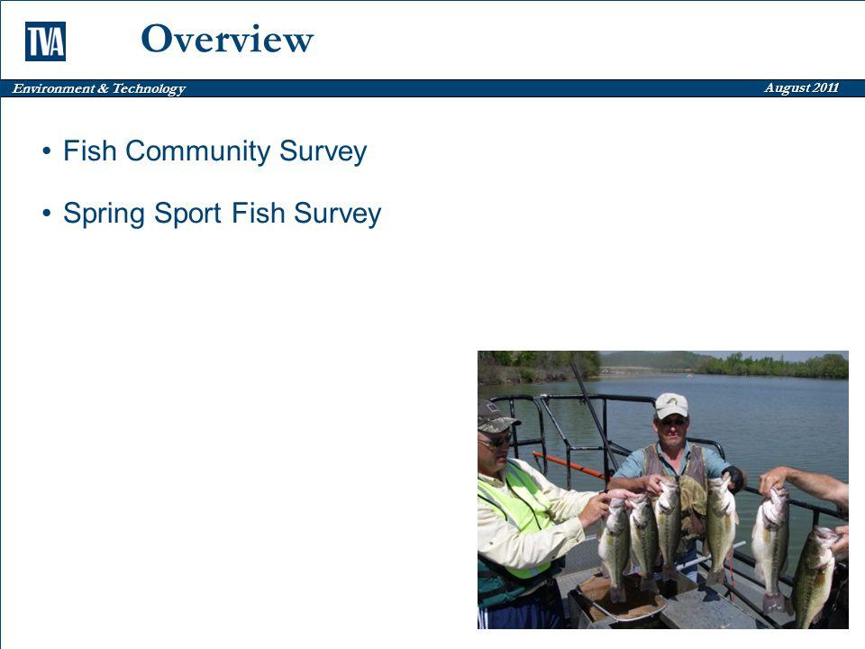 Environment & Technology August 2011 Overview Fish Community Survey Spring Sport Fish Survey