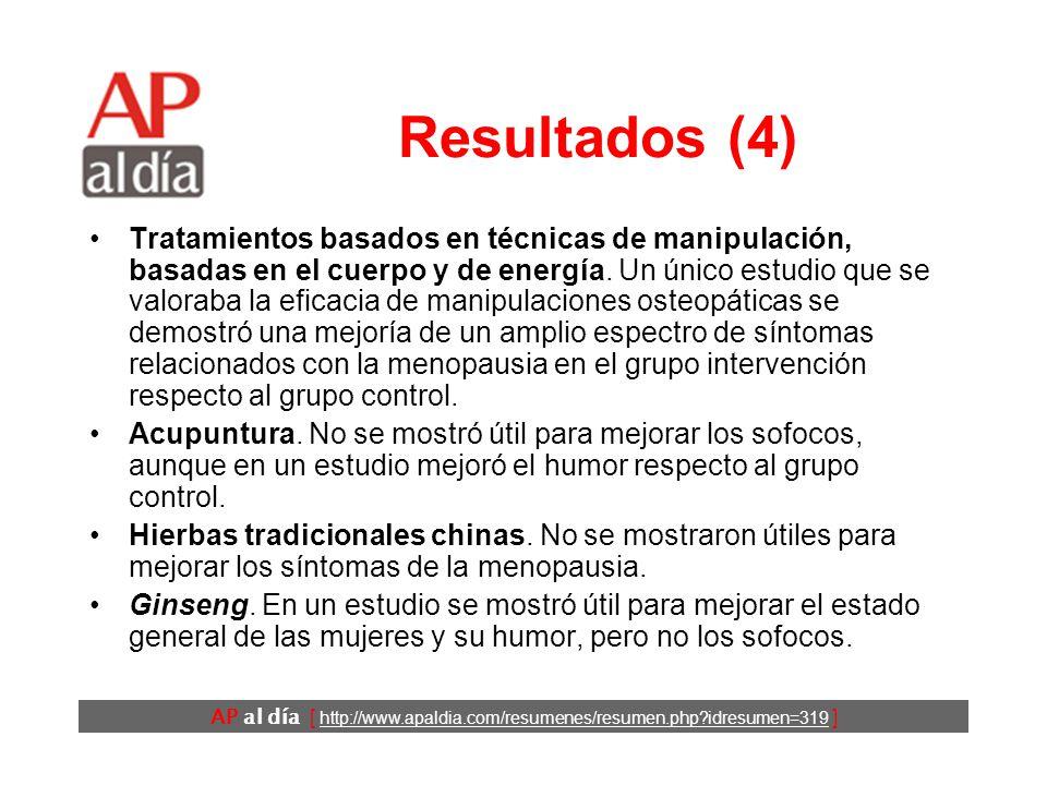 AP al día [ http://www.apaldia.com/resumenes/resumen.php?idresumen=319 ] Resultados (3) Genisteína.