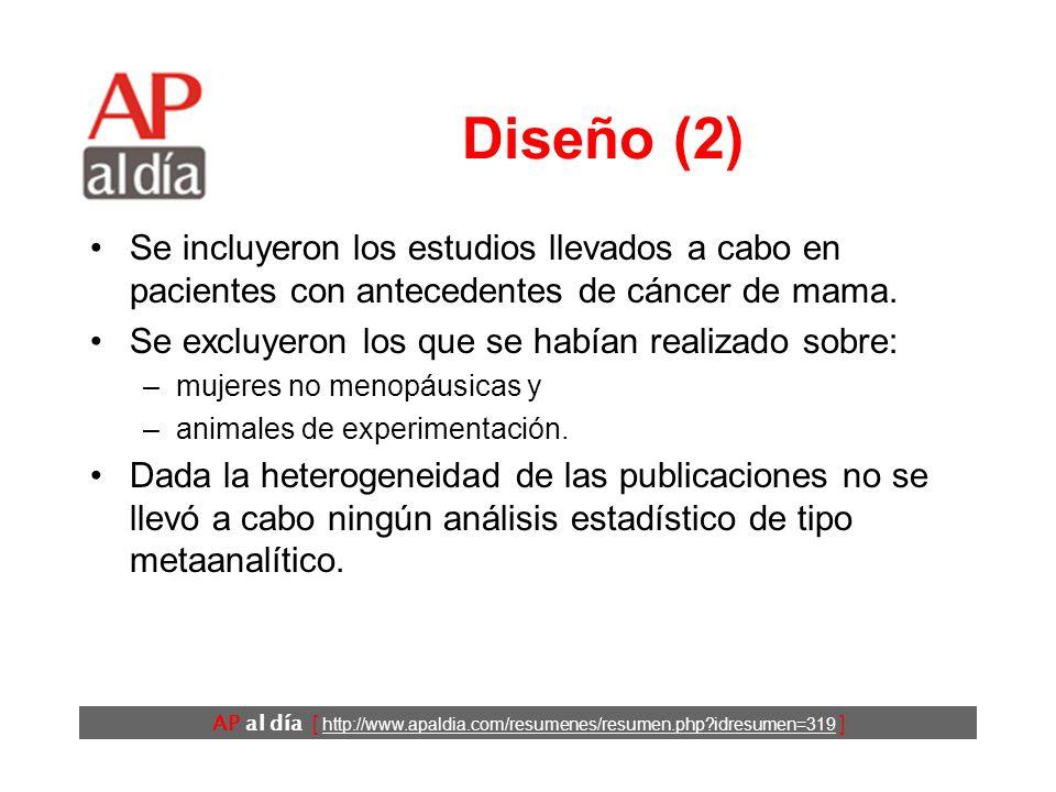 AP al día [ http://www.apaldia.com/resumenes/resumen.php?idresumen=319 ] Diseño (1) Revisión sistemática.