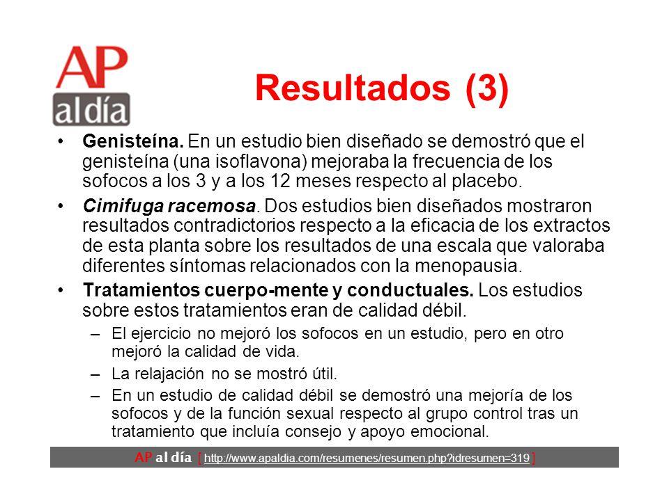 AP al día [ http://www.apaldia.com/resumenes/resumen.php?idresumen=319 ] Resultados (2) Productos dietéticos con complementos de isoflavonas de soja.
