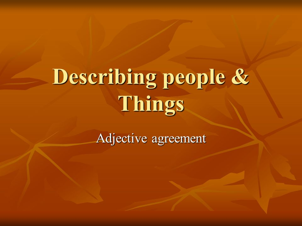 Describing people & Things Adjective agreement