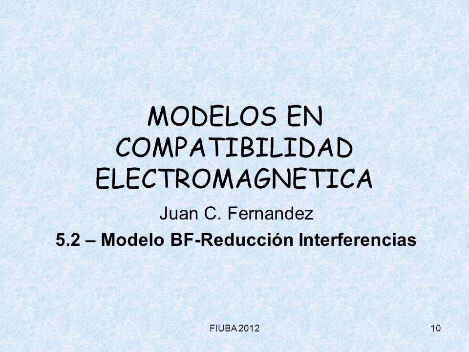FIUBA 201210 MODELOS EN COMPATIBILIDAD ELECTROMAGNETICA Juan C. Fernandez 5.2 – Modelo BF-Reducción Interferencias