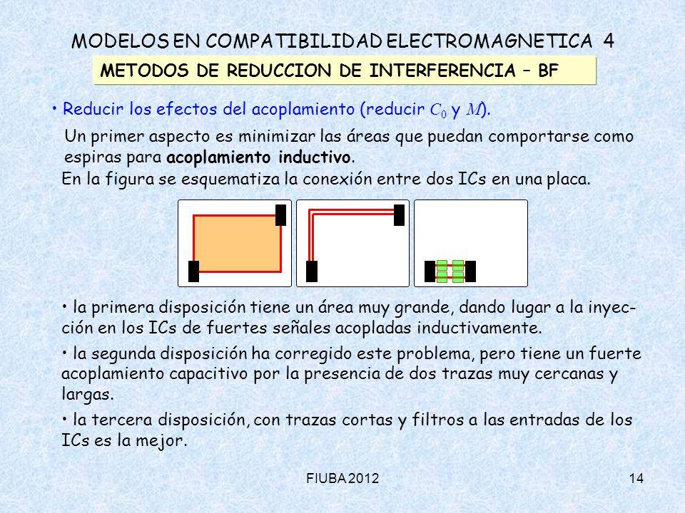 FIUBA 201214 En la figura se esquematiza la conexión entre dos ICs en una placa. la primera disposición tiene un área muy grande, dando lugar a la iny