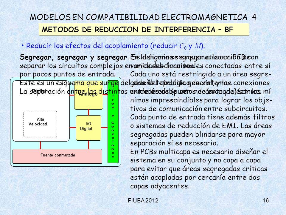 FIUBA 201216 MODELOS EN COMPATIBILIDAD ELECTROMAGNETICA 4 METODOS DE REDUCCION DE INTERFERENCIA – BF Reducir los efectos del acoplamiento (reducir C 0