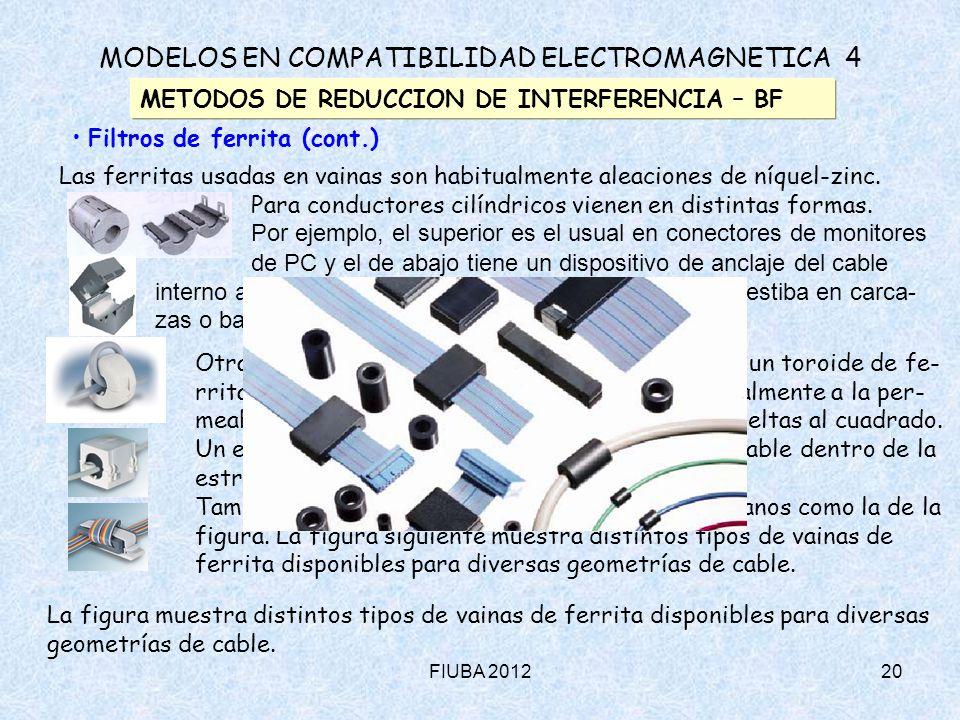FIUBA 201220 MODELOS EN COMPATIBILIDAD ELECTROMAGNETICA 4 METODOS DE REDUCCION DE INTERFERENCIA – BF Filtros de ferrita (cont.) Las ferritas usadas en