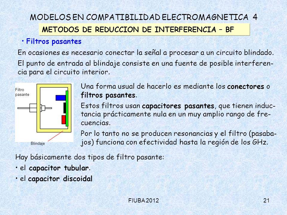 FIUBA 201221 MODELOS EN COMPATIBILIDAD ELECTROMAGNETICA 4 METODOS DE REDUCCION DE INTERFERENCIA – BF Filtros pasantes En ocasiones es necesario conect