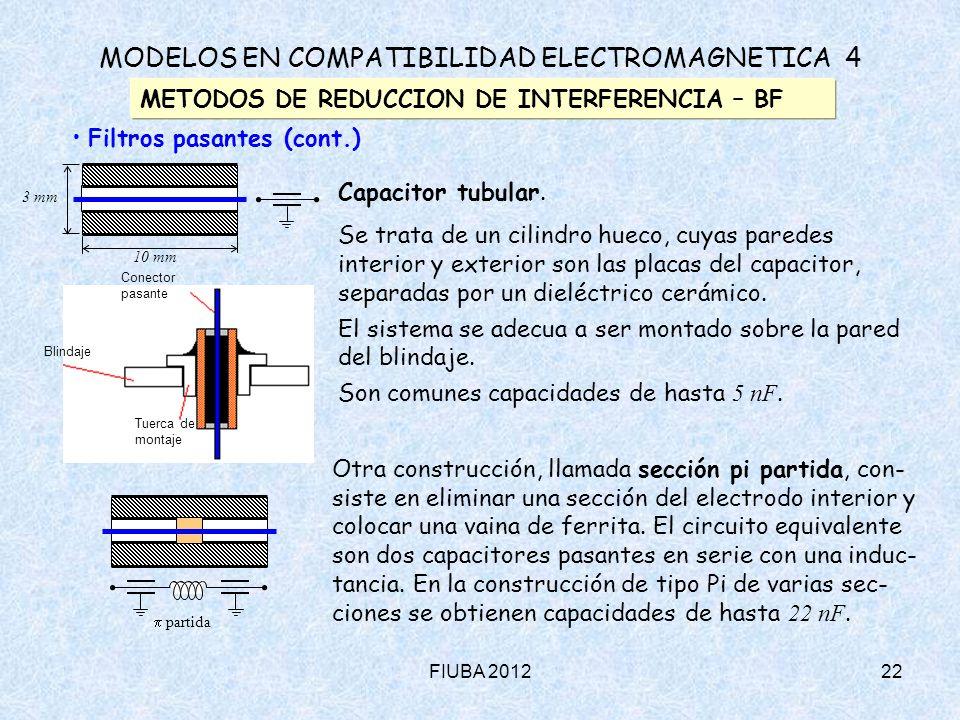 FIUBA 201222 MODELOS EN COMPATIBILIDAD ELECTROMAGNETICA 4 METODOS DE REDUCCION DE INTERFERENCIA – BF Filtros pasantes (cont.) Capacitor tubular. Se tr