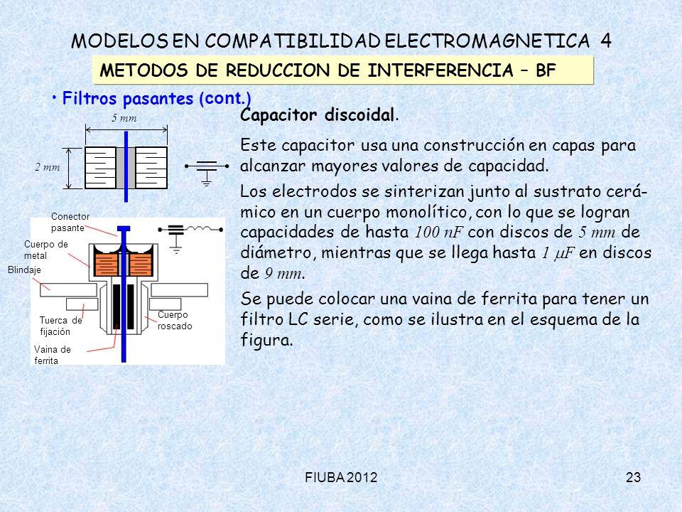 FIUBA 201223 MODELOS EN COMPATIBILIDAD ELECTROMAGNETICA 4 METODOS DE REDUCCION DE INTERFERENCIA – BF Filtros pasantes (cont.) Capacitor discoidal. Est