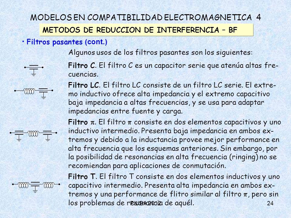 FIUBA 201224 MODELOS EN COMPATIBILIDAD ELECTROMAGNETICA 4 METODOS DE REDUCCION DE INTERFERENCIA – BF Filtros pasantes (cont.) Algunos usos de los filt