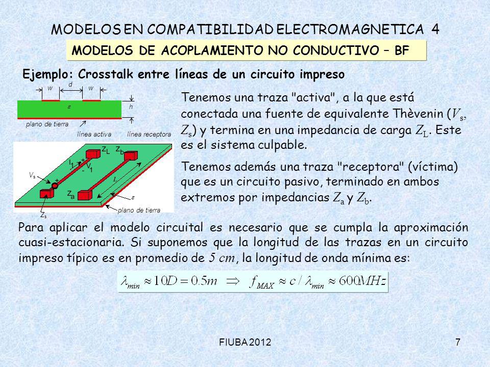 FIUBA 20128 MODELOS EN COMPATIBILIDAD ELECTROMAGNETICA 4 MODELOS DE ACOPLAMIENTO NO CONDUCTIVO – BF Ejemplo: Crosstalk entre líneas de un circuito impreso línea activa  línea receptora plano de tierra ZsZs VsVs Circuito culpable: ZLZL I1I1 V1V1 + - ZsZs VsVs Fuente + Circuito víctima: VbVb + - ZbZb i  MI 1 VaVa + - ZaZa - + iC0V1iC0V1