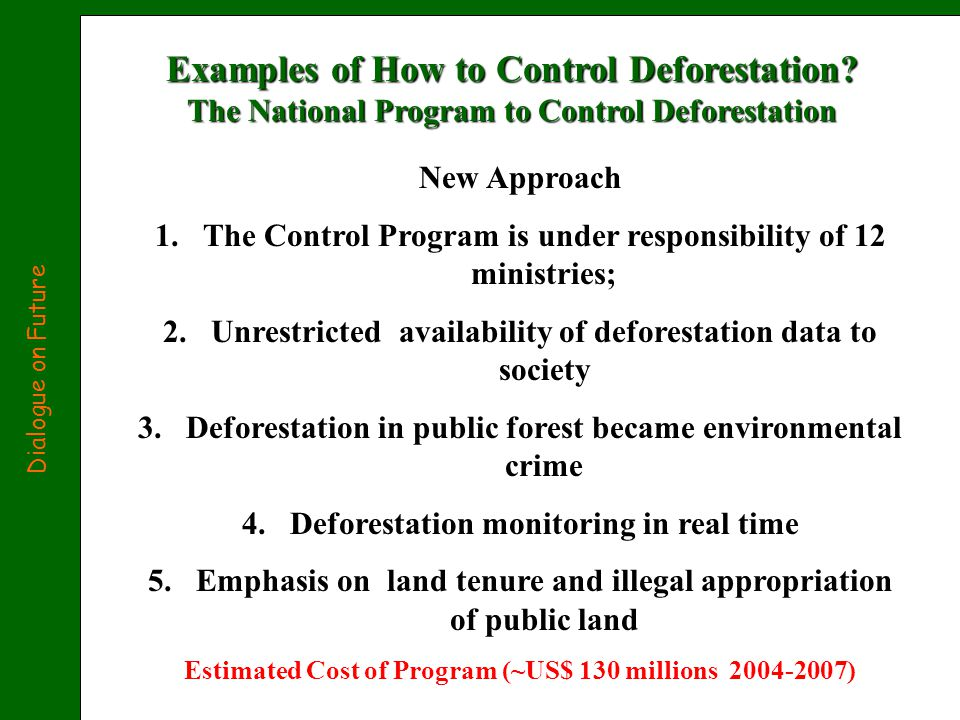 Examples of How to Control Deforestation.