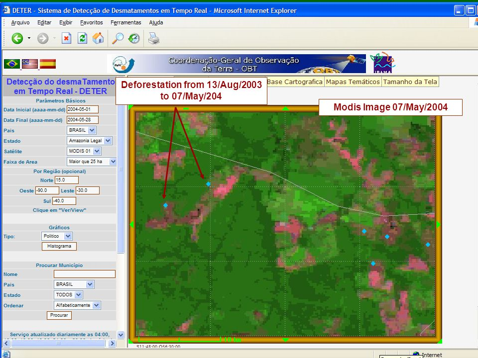 Deforestation from 13/Aug/2003 to 07/May/204 Modis Image 07/May/2004