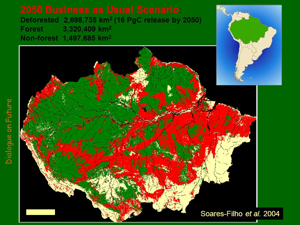 2050 Business as Usual Scenario : Deforested 2,698,735 km 2 (16 PgC release by 2050) Forest 3,320,409 km 2 Non-forest 1,497,685 km 2 500 km Soares-Filho et al.