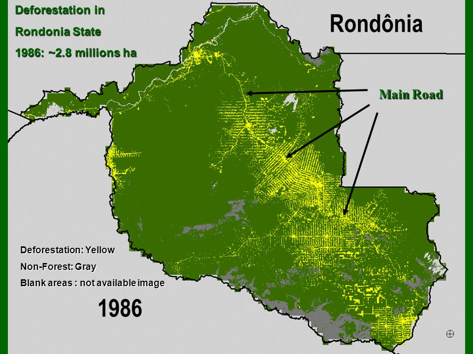 Deforestation: Yellow Non-Forest: Gray Blank areas : not availableimage Blank areas : not available image Deforestation in Rondonia State 1986: ~2.8 millions ha Main Road