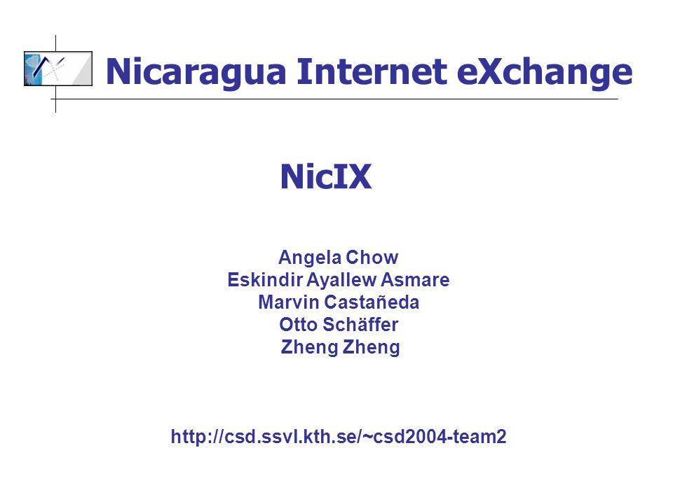 Angela Chow Eskindir Ayallew Asmare Marvin Castañeda Otto Schäffer Zheng Zheng http://csd.ssvl.kth.se/~csd2004-team2 NicIX Nicaragua Internet eXchange