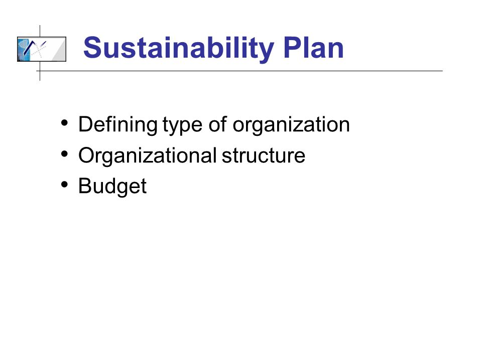 Sustainability Plan Defining type of organization Organizational structure Budget