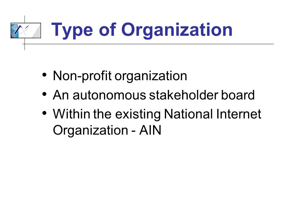 Type of Organization Non-profit organization An autonomous stakeholder board Within the existing National Internet Organization - AIN