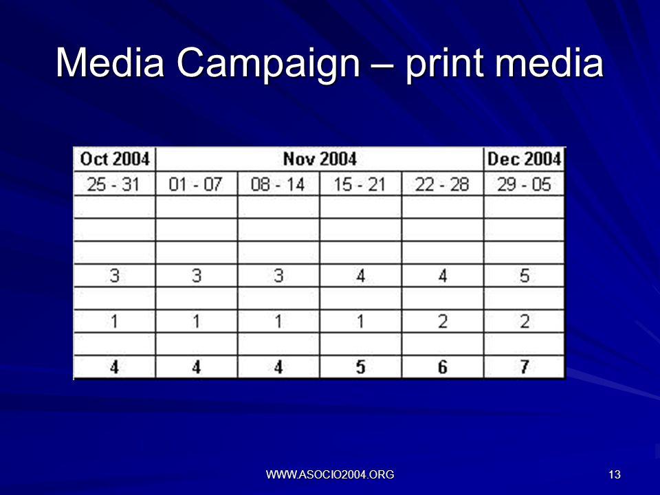 WWW.ASOCIO2004.ORG 13 Media Campaign – print media