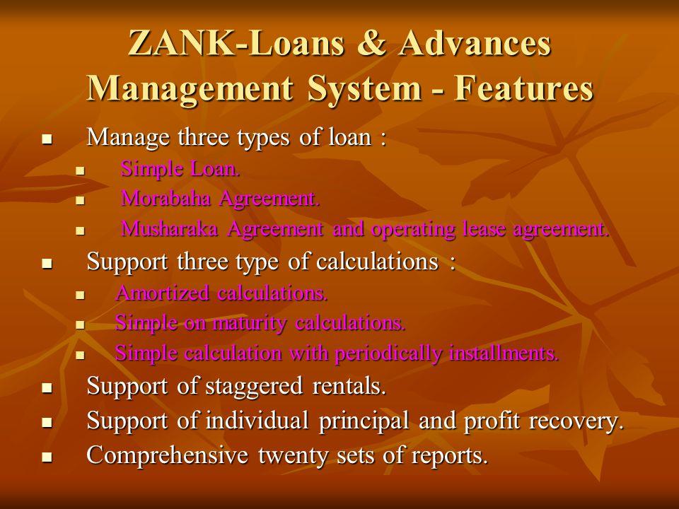 ZANK-Loans & Advances Management System - Features Manage three types of loan : Manage three types of loan : Simple Loan.
