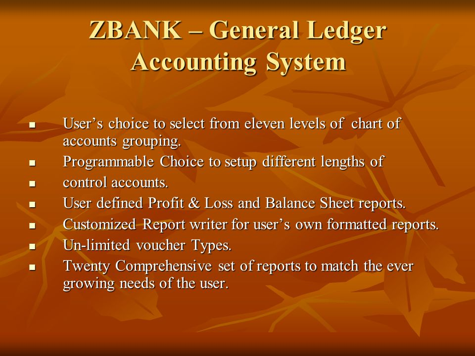 ZBANK – General Ledger Accounting System User's choice to select from eleven levels of chart of accounts grouping.