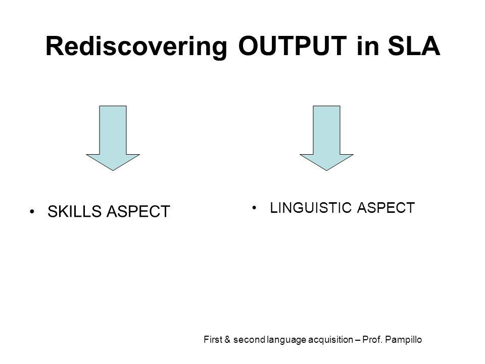 Rediscovering OUTPUT in SLA SKILLS ASPECT LINGUISTIC ASPECT