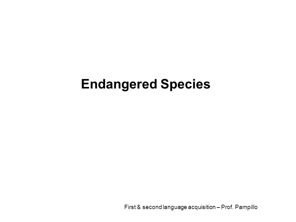 First & second language acquisition – Prof. Pampillo Endangered Species