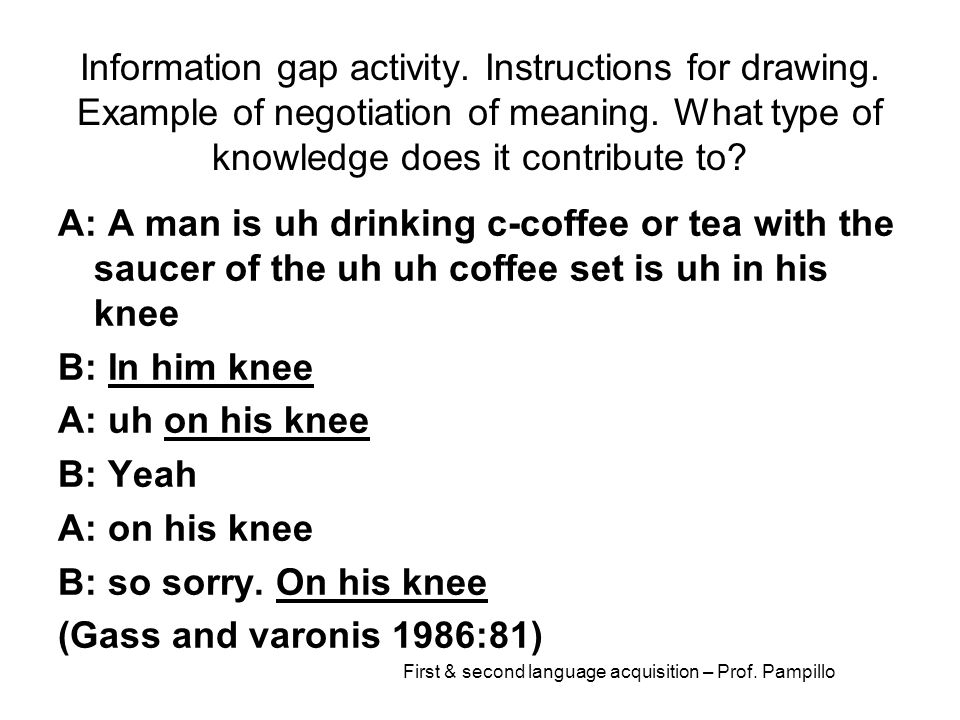 First & second language acquisition – Prof. Pampillo Information gap activity. Instructions for drawing. Example of negotiation of meaning. What type