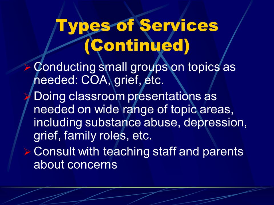 Types of Services Provided  Crisis Intervention and Referral  Screening of students using the GAIN-Q  Referral assistance to community based agencies  Assistance obtaining more extensive evaluation using the GAIN-I  Assistance obtaining OPT and residential services if needed