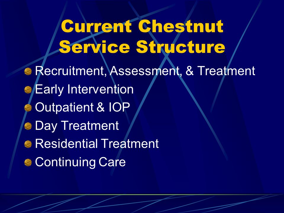 Current Chestnut Service Structure Recruitment, Assessment, & Treatment Early Intervention Outpatient & IOP Day Treatment Residential Treatment Continuing Care