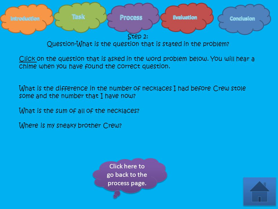 Step 1-Survey Read the word problem by clicking on the orange cloud.