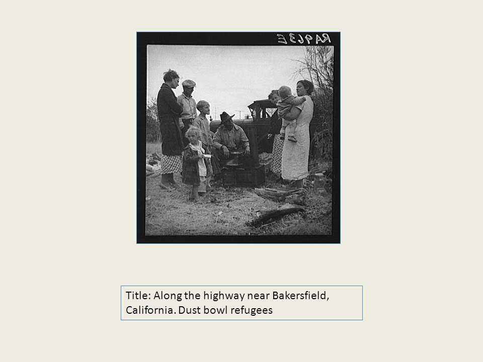 Title: Along the highway near Bakersfield, California. Dust bowl refugees