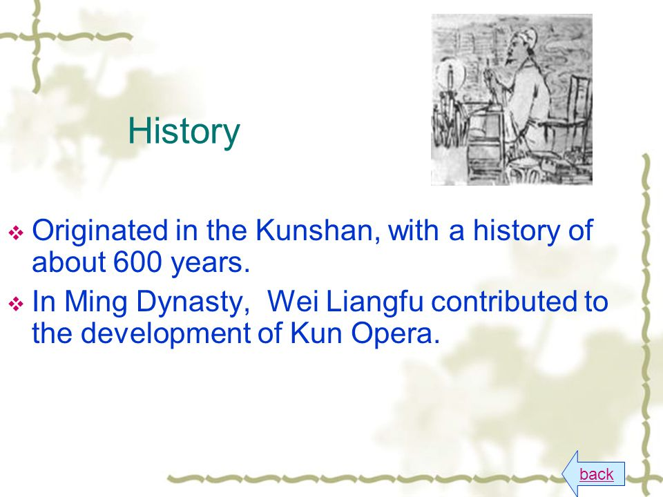 History back  Originated in the Kunshan, with a history of about 600 years.