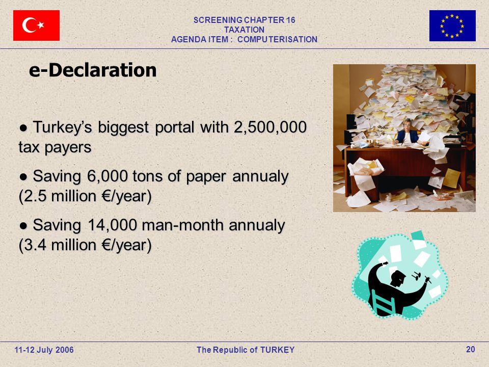 11-12 July 2006The Republic of TURKEY SCREENING CHAPTER 16 TAXATION AGENDA ITEM : COMPUTERISATION 20 e-Declaration ● Turkey's biggest portal with 2,50