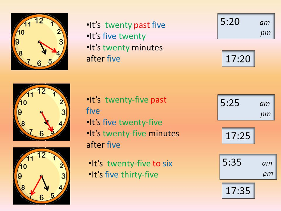 5:20 am pm 5:25 am pm 5:35 am pm 17:20 17:25 17:35 It's twenty-five past five It's five twenty-five It's twenty-five minutes after five It's twenty-five to six It's five thirty-five It's twenty past five It's five twenty It's twenty minutes after five