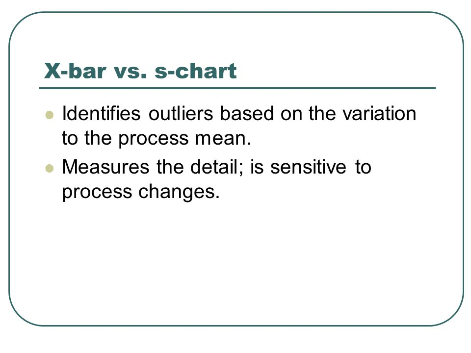 X-bar vs. s-chart Identifies outliers based on the variation to the process mean.