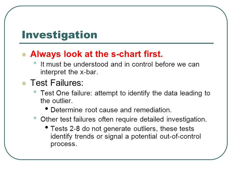 Investigation Always look at the s-chart first.