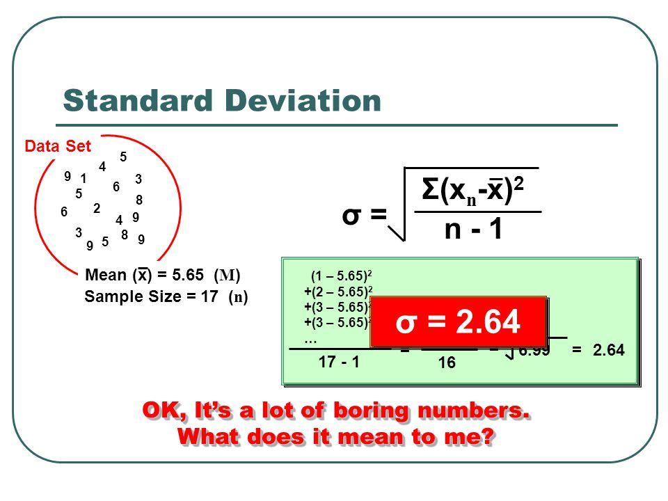 Standard Deviation 1 2 3 3 4 4 5 5 5 6 6 8 8 9 9 9 9 Data Set Sample Size = 17 ( n ) σ = Σ(x n -x) 2 n - 1 17 - 1 = 111.88 16 = 6.99= (1 – 5.65) 2 +(2 – 5.65) 2 +(3 – 5.65) 2 +(3 – 5.65) 2 … 2.64 Mean (x) = 5.65 ( M ) σ = 2.64 OK, It's a lot of boring numbers.