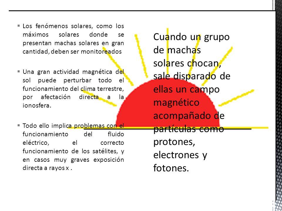  Los fenómenos solares, como los máximos solares donde se presentan machas solares en gran cantidad, deben ser monitoreados  Una gran actividad magnética del sol puede perturbar todo el funcionamiento del clima terrestre, por afectación directa a la ionosfera.