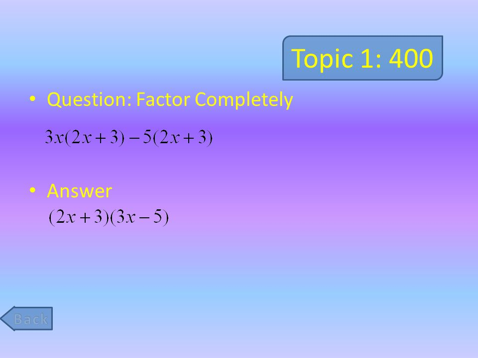 Topic 5: 400 Question: Solve the following problem.