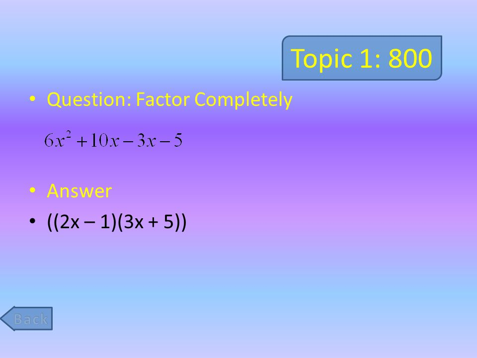 Topic 5: 800 Question: Solve the following problem.