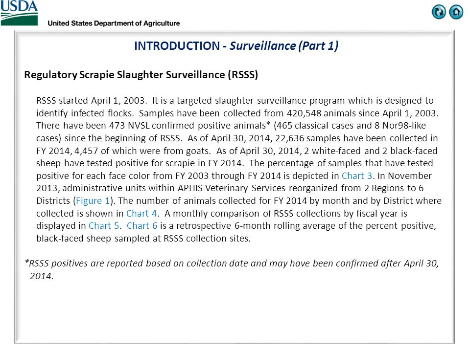 INTRODUCTION - Surveillance (Part 1) Regulatory Scrapie Slaughter Surveillance (RSSS) RSSS started April 1, 2003.