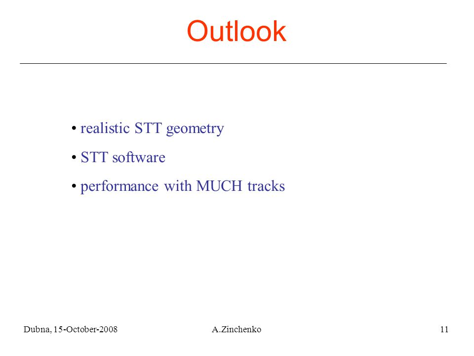 Dubna, 15-October-2008A.Zinchenko11 realistic STT geometry STT software performance with MUCH tracks Outlook