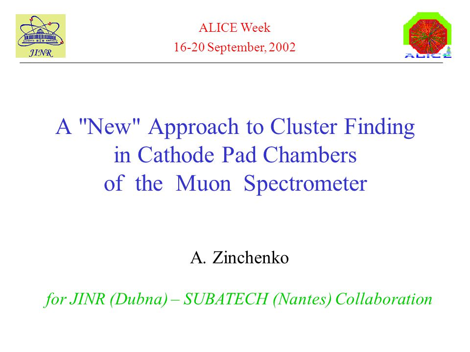 A New Approach to Cluster Finding in Cathode Pad Chambers of the Muon Spectrometer A.