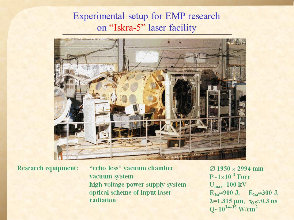 Experimental setup for EMP research on Iskra-5 laser facility