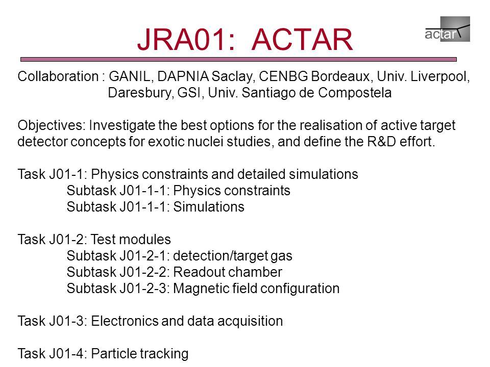 JRA01: ACTAR Collaboration : GANIL, DAPNIA Saclay, CENBG Bordeaux, Univ.